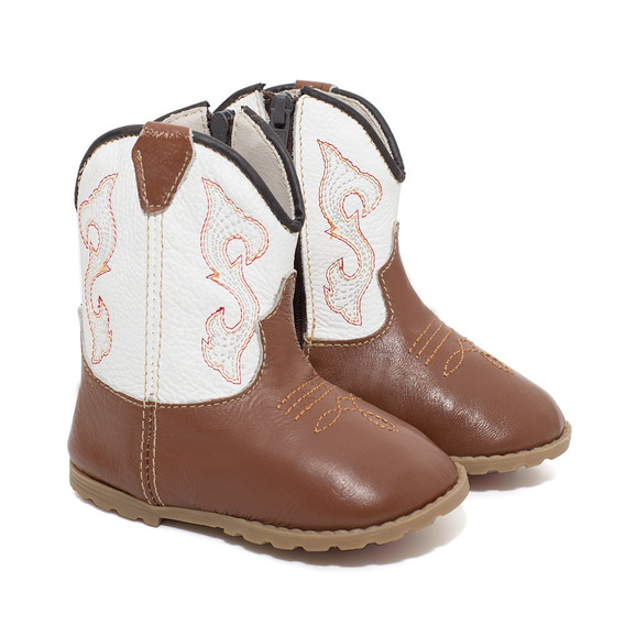 Bota Infantil Texana Unissex Bebê Em Couro Gelo Bull Leather