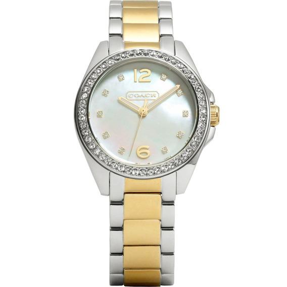Relógio Coach Feminino Tristen Prata E Dourado 14501659