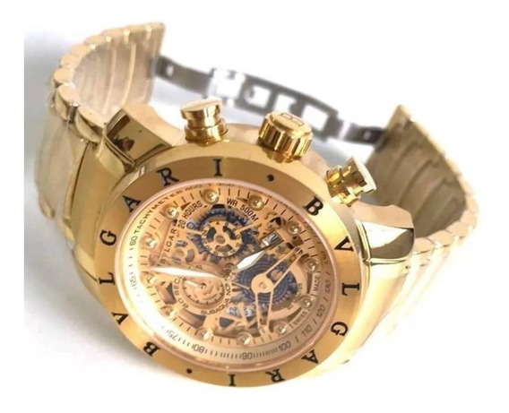 Relógio Masculino Bv Skeleto Dourado
