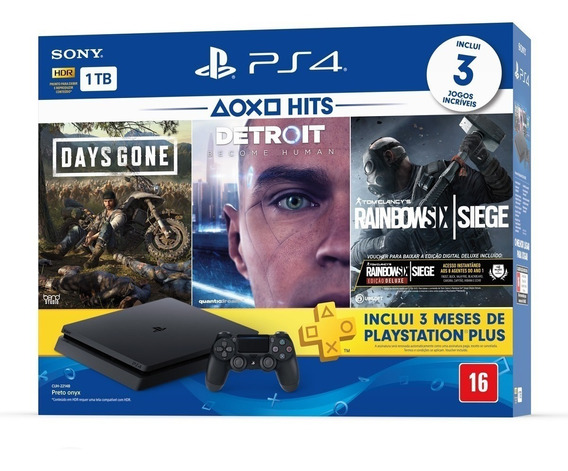 Playstation 4 Slim 1tb Bundle + 3 Jogos E Ps Plus - Ps4