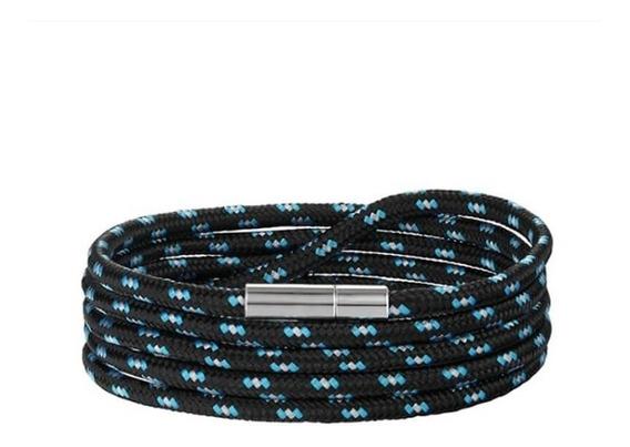 Pulseira Masculina De Corda Preta E Azul Fecho Niquelado