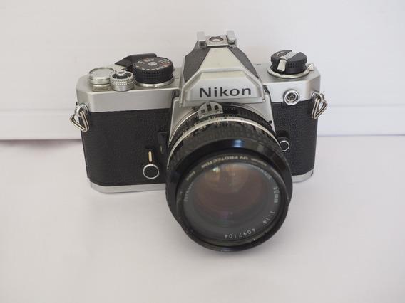 Máquina Fotográfica Nikon Fm C/ Lente Nikkor 50mm-1.4