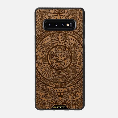 Imagen 1 de 4 de Funda Case Madera Calendario Azteca Samsung Galax S10+   S10 Lite   S10   S9   S9+   A50   Note9   Artcasesco