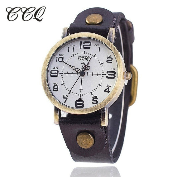 Relógios Femininos Couro Vantage Moderno Bronze Brinde