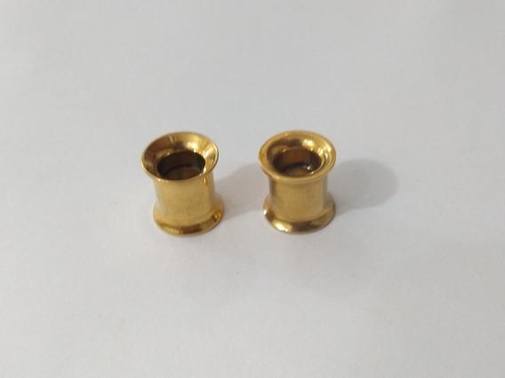Par De Alargadores 8mm Rosca Interna Em Titânio Dourado