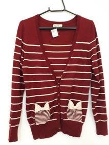 Blusa De Frio Cardigan Suéter Lã Trico Listrada