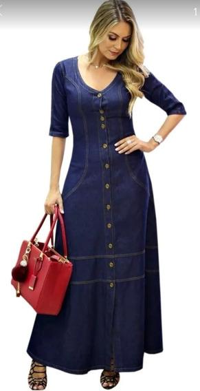 Lindo Vestido Feminino Jeans Moda Evangélica Frete Grátis
