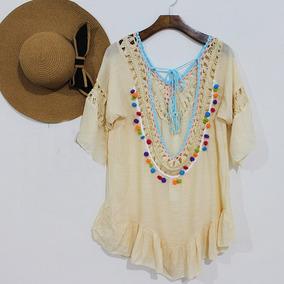 Vestido Saida De Praia Banho Verão Canga Blusa Crochê 2804