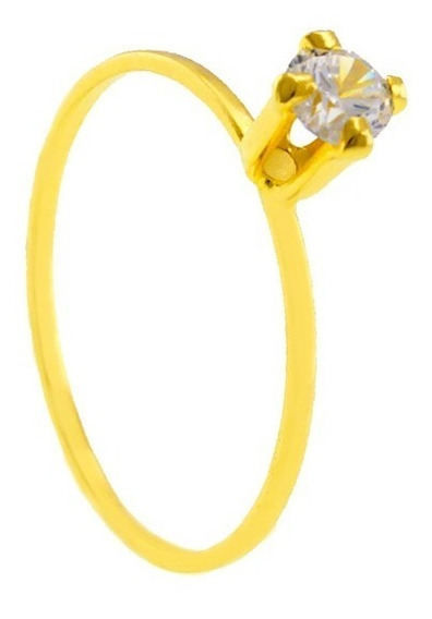 90 Anéis Solitário Banhado Em Ouro 18k - Pedra Zircônia