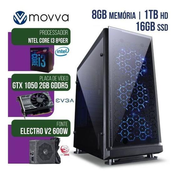 Computador Gamer Mvx3 Intel I3 8100 3.6ghz 8ª Ger. Mem8gb Hd1tb Ssd16gb Gtx1050 2gb Ddr5 Fonte600w