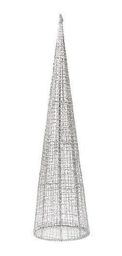 Arbol Navidad Cono Metal Brillante Color 80cm Plata / Champ