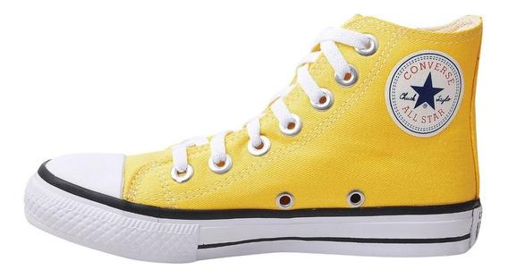 Tênis Converse All Star Cano Alto Bota Amarela