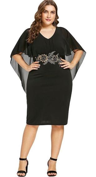 Vestido Fiesta Negro Vuelos Talla Plus Grande + Envio Gratis