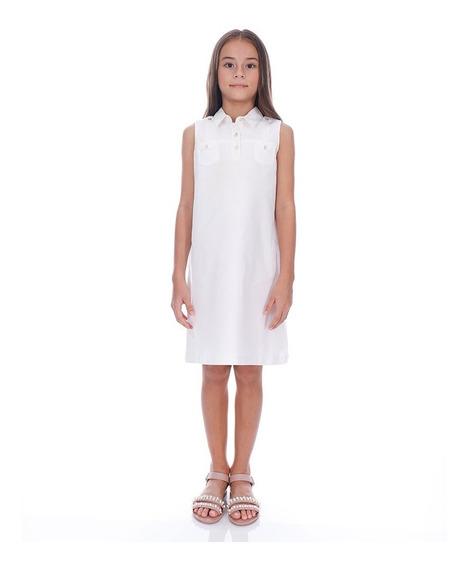 Abito Vestido De Lino Para Niña Color Blanco Mod. Dunya