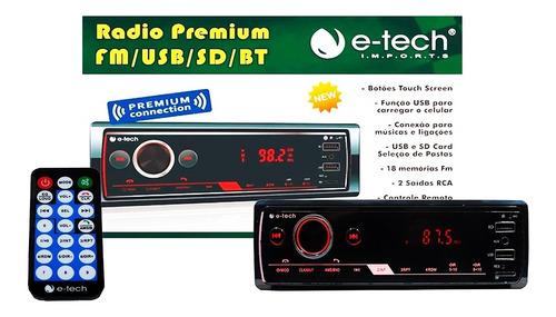 Imagem 1 de 7 de Auto Radio Automotivo E-tech Premium Mp3 Fm 2 Usb Bt Sd App