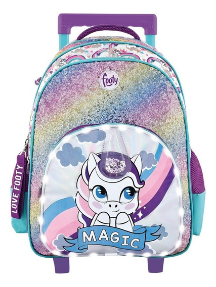Mochila Carro Grande 18 Unicornio Luz Led Lentejuelas Footy