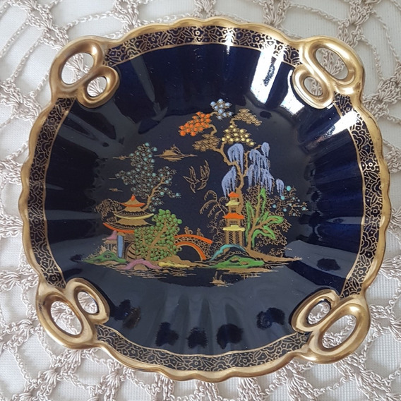 Antigua Bandeja En Porcelana Inglesa Crown Devon