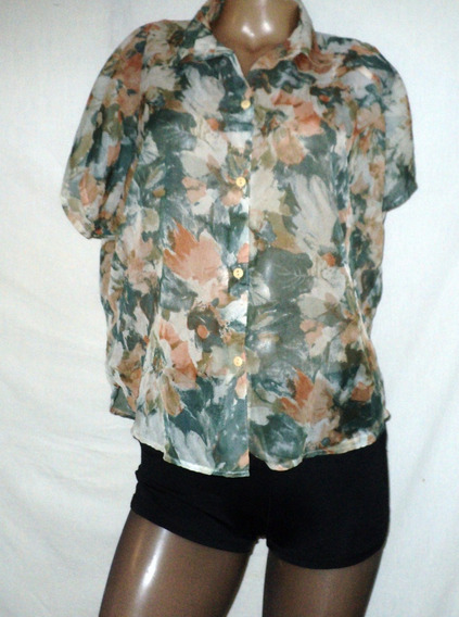 Camisa Blusa Gasa Talle 3 Transparente Vintage Hombreras