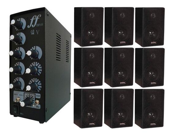 Kit 9 Caixa Som Ambiente E 1 Amplificador E Setorizador