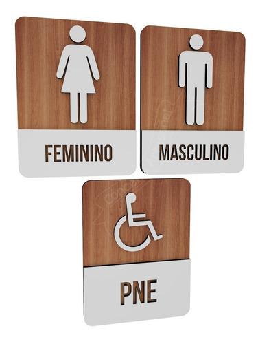 Imagem 1 de 2 de Trio Placas Sinalizadoras Para Restaurante Banheiro M/f/pne