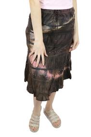 Saia Indiana Midi Sobreposta Laranja Roupa Moda Feminina - G