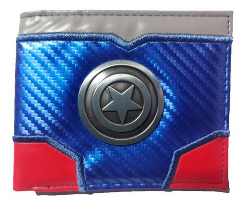 Billetera Capitan America Logo Metálico Avengers Marvel