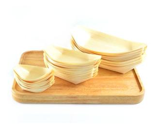 Platos De Bambu Descartables X100u Bandeja Estilo Barco