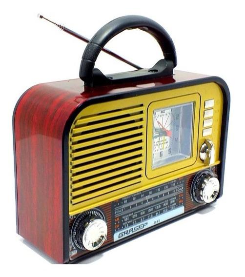 Rádio Relogio Grazep Df9 Am/fm/sw Usb Aux Som Retro Portatil