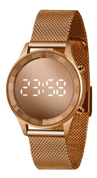 Relógio Lince Led Digital Rosê Pulseira Em Mesh Ldr4648l-rxr