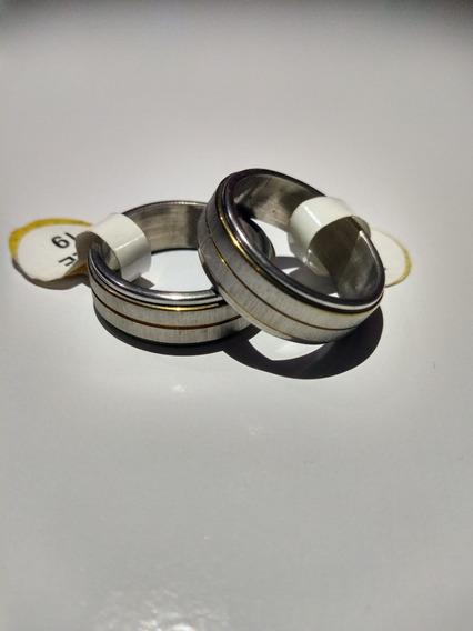 Anel Aliança Prata Com Filetes De Ouro - Tam 21 - 1 Uni