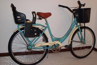 Bicicleta Paseo Dama Bicolor Rodado 26 Con Sillita Flex
