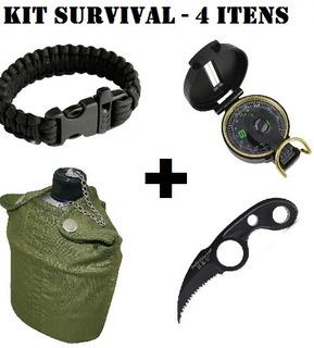 Kit Sobrevivencia - Bussola + Cantil + Pulseira + Faca