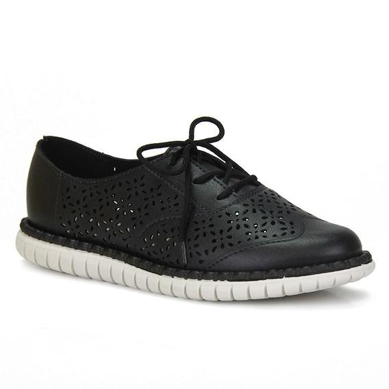 Sapato Oxford Tratorado Moleca Fem 5654.101 Preto