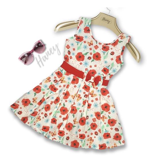 Vestido Infantil Feminino Casual Roupa Tricoline Tam 4 6 8