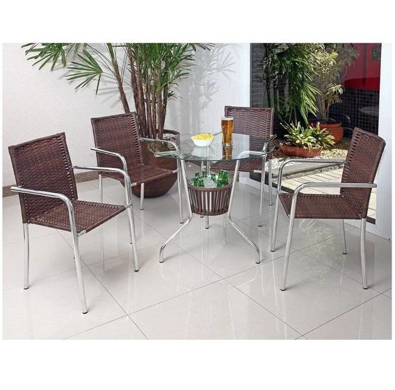 Conjunto De Mesa Para Jardim/área Externa Com 4 Cadeiras