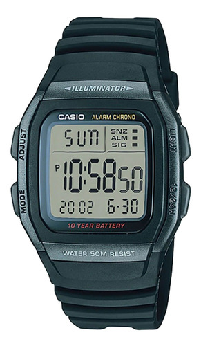 Relógio Casio W-96h-1bvdf Padrão Masc Preto - Refinado