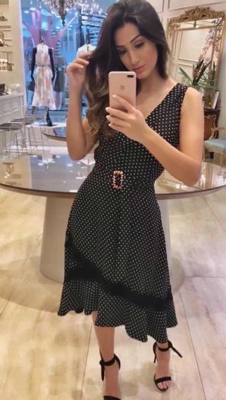 Vestido Midi Crepe Poá Luzia Fazzolli - Tam. 38