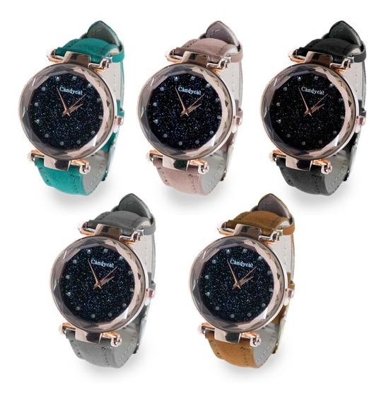 Reloj Dama Corte Diamante Análogo Piedra Casual