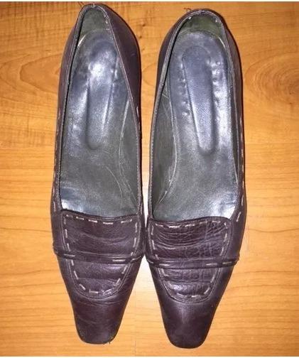 Zapato Mocasin Cuero Cafe Talle 25.5 Mujer