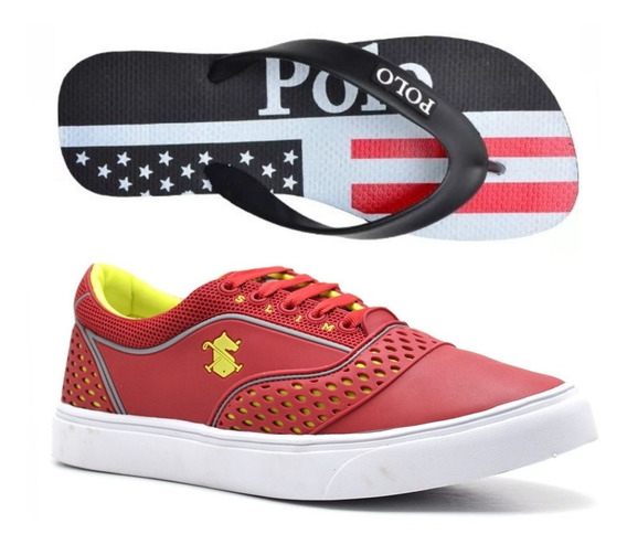 Kit Tenis Masculino Polo Slim Original C/ 1 Par Chinelo