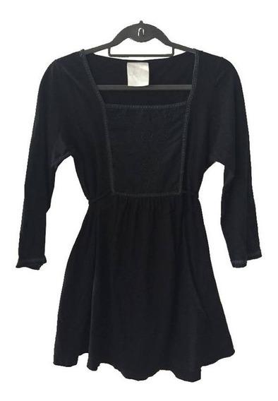 Camisola Negra Con Canesú Bordado Lazo En Cintura Try My