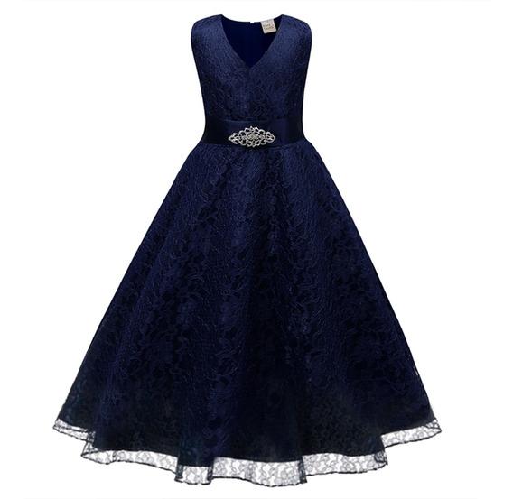 1 Pc Vestido De Verão Vestido Azul Marinho Renda Decorado Ve