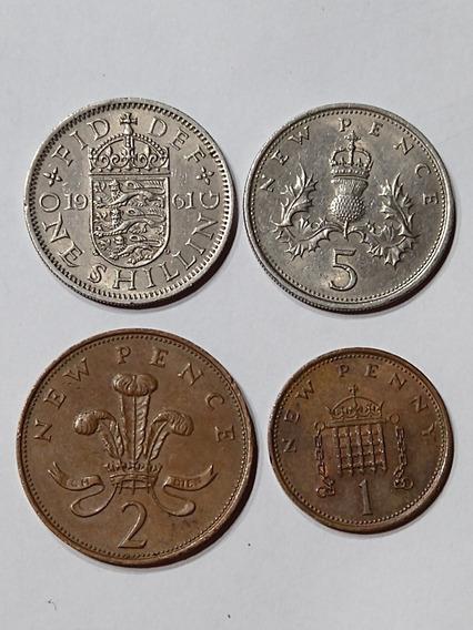 Lote Monedas Gran Bretaña,años 1961-71 Y 74