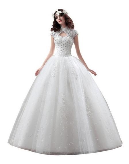 Nb03 Vestido De Noiva Barato Renda Gola Alta Brilho Princesa