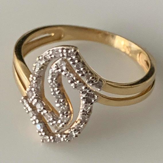 Anel Ouro Amarelo 18k- 2.7gr. Aro 18 C/ Diamantes.