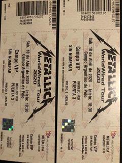 2x Entradas Campo Vip Concierto Metallica 04.12.2020 Baires