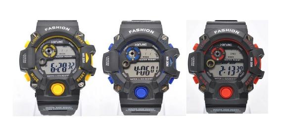 Lote 3 Reloj Quarzo Xinjie X-sport 3 Colores Deportivo