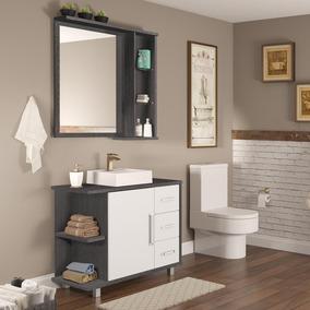 Gabinete Para Banheiro Com Pés Espelheira E Cuba Stein