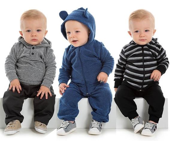 Kit 3 Conjuntos Bebê Menino Inverno Calça E Blusa Roupa Infantil De Frio