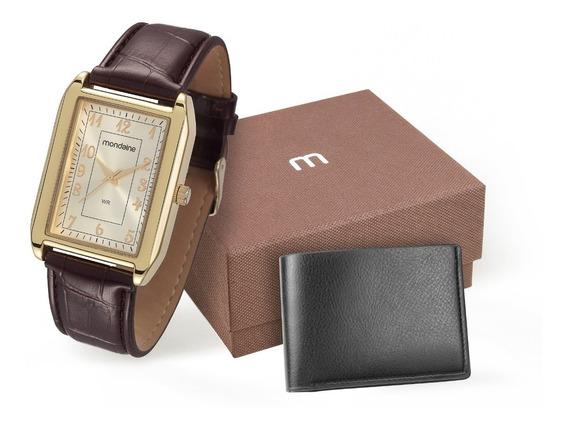 Relógio Masculino Mondaine Dourado Couro